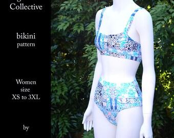 High waist Collective bikini sewing pattern Women size XS to XXXL