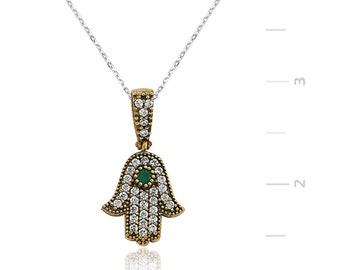 Authentic Emerald Necklace Silver Fatima's Hand - IJ1-1301