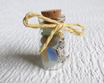 Rainbow Seaham seaglass miniature bottle, genuine English sea glass, glass display, beach glass, silver mermaid charm, mermaid tears