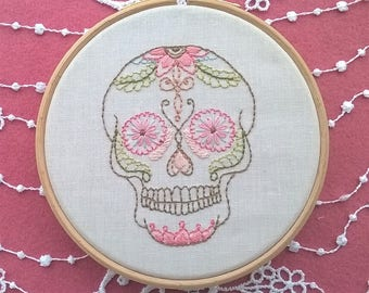 "Embroidery KIT -  embroidery hoop art - ""Skull"" - hand embroidery kit"