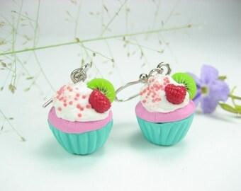 Raspberry Kiwi Cupcake Earrings, food jewelry, food earrings cupcake jewelry raspberry food womens gift for her charm miniature polymer clay