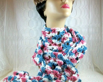 Crochet Scarf in White, Blue, and Mauve