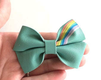 RTS Hand Painted Rainbow Rosa Bow