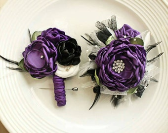 Prom corsage and boutonierre set bridesmaid flower girl