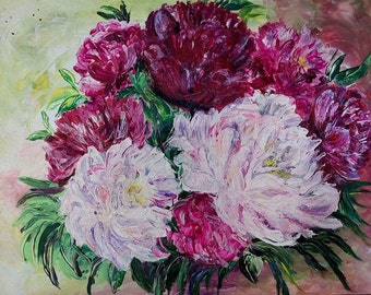 Blossom flowers Spring Painting Peonies Acrylic Wall Art Living Room Decor Dining Room Interior Bright colors Unique Art Gift Cozy Kitchen