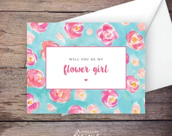 Printable Will You Be My Flower Girl Card, Instant Download Greeting Card, Will You Be My Flower Girl Instant Download–Kaleigh