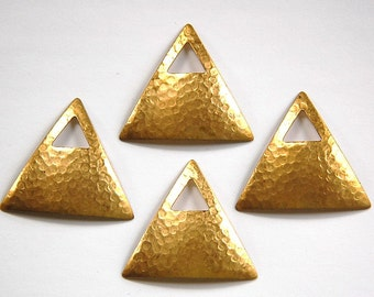 Raw Brass Dapped Hammered Triangle Pendant with Triangle Opening (4) mtl319
