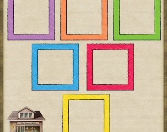 6 Bright Doodle Sketch Square Frames *Instant Download*