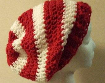 Where's Waldo Crochet Hat, Red and White Striped Crochet Slouchy Beanie, Christmas Crochet Hat, Ready to Ship, B54-16-1025-3/B71-17-0202-3