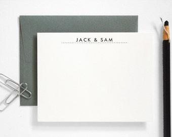 Letterpress Couples Stationery - Custom Note Card Set - Modern Utility Thank You