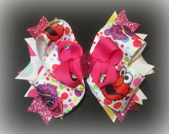 Elmo Hair Bow, Abby Hairbow, Elmo Boutique Bows, Birthday Party Hair Bow, Baby Headband, Stacked Bows for Babies, Big Elmo Hairbow, Pink Dot