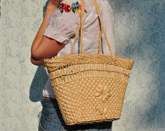 Straw bag, vintage straw bag, straw bag vintage, summer straw bag, straw shoulder bag, cornhusk bag, summer bag straw, floral bag