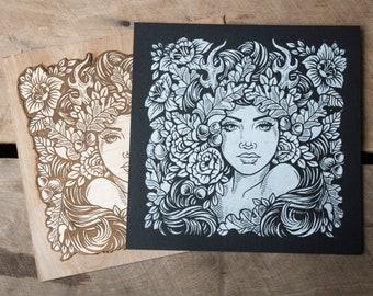 Sister Nature -12 x 12 Block Print