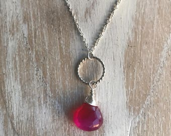 Handmade Hot Pink chalcedony sterling silver necklace, Simple, Pretty, Classic