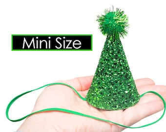 Glitter Party Hat CHUNKY with POM Glitter Mini Party Hat New Years Costume Tiny Party Hat Single MINIATURE Party Hat