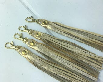 "Metallic Gold Leather tassel key chain, purse charm, key fob, bag charm, key ring, zipper pull, gold hardware, 6"" long"