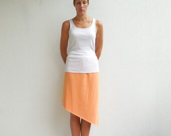 T Shirt Skirt Womens Clothing Recycled Tee Asymmetrical Style Straight Knee Length Cotton Fashion Handmade Spring Summer ohzie