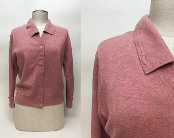 Vintage 1950 Pink Gray Tweed Cardigan Sweater / 50s Snug Fitting Baby Doll Knit Sweater / size L