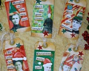 Christmas Santa Lady Tags Collage Paper Sheet PDF -  vintage saying photos sayings holiday