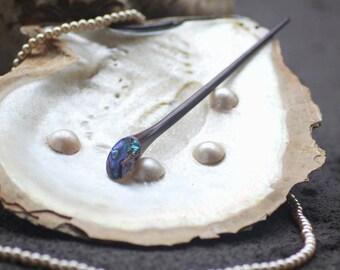 Wooden Hairsticks Prong with Oval Abalone Paua Shell, Hair chopsticks, Hair sticks, Hair pins, Wooden hair Chopsticks