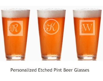 SET of 4.  Personalized Initials Engraved / Etched Beer Pint Glasses.