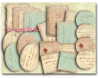 Carte Postale Postcards Kit - Digital Collage Sheet Download - 801 - Digital Paper - Instant Download Printables