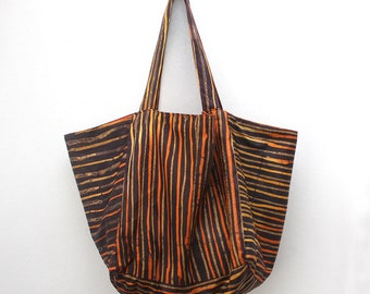 Cube Tote, Brown and Orange Tote, Batik tote bag, Shopper tote bag, Medium tote bag, Striped tote bag, Bag for life