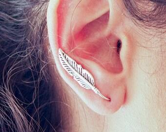 Feather Ear Climber // Silver Ear Climber // Feather Ear Cuff  // Feather Earrings // Ear Crawler // Climber Earrings // Ear Jacket
