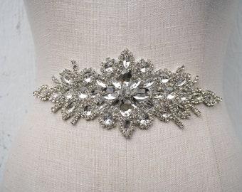 Farrah Belt   Wedding belt   wedding sash   bridal belt   bridal sash   beads   silver   crystal   brooch  