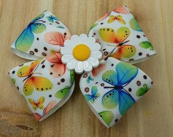 Small Butterfly Printed Pinwheel Ribbon Bow