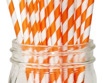 Big Pack 80 Orange Stripe Paper Drinking Straws - Wedding - Birthday - Celebration & Party Supplies