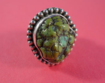 Raw Uncut Turquoise Ring with Wide Textured Band and Decorative Bezel ~ Solid 925 Sterling Silver, US Size 6