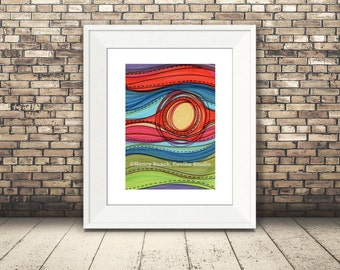 Abstract Landscape, Abstract Sunset, Abstact Nature Print, Landscape Art Print