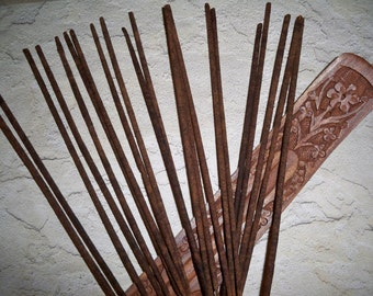 20 Hand Dipped Sage Incense Sticks and Carved Wood Holder