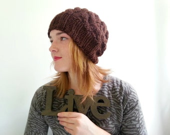 Chocolate Brown Handknit Hat in Alpaca and Wool. Cabled, Chunky. Cozy Winter Hat.