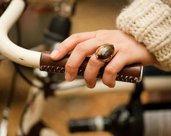 """Leather Bicycle Grips - The """"City Grips"""" - Sew-on Leather Handlebar Wraps for City and Mountain Bikes"""