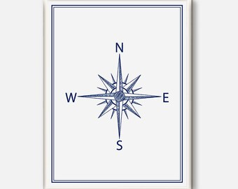 Compass Poster, Compass Illustration, Nautical Poster, Compass Print, Vintage Print, Nautical Theme, Nautical Wedding, Poster white and blue