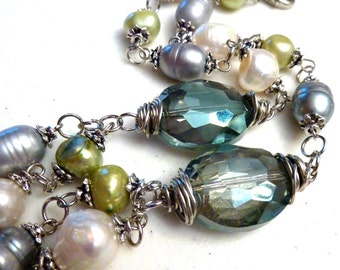 Green Blue Crystals with Multi-Color Double Strand Freshwater Pearls Necklace