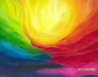 THE LIGHT, large print of oil painting art print, blessing card, post card of my original oil painting, Waldorf education arts