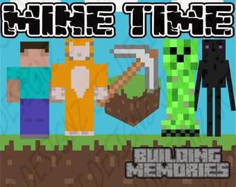 NEW! MINECRAFT Inspired Clipart: Mine Time,  mining clip art, mine, craft, building, digital scrapbooking.