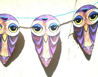 Owl Banner, Paper Banner, hand cut original design,illustration, Halloween decor, wall decor