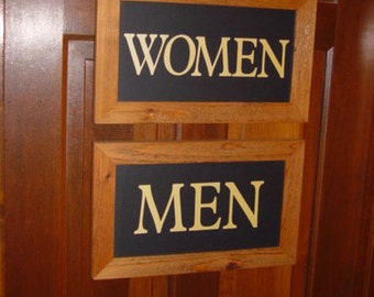 FREE SHIPPING 2 Restroom cedar custom lettered framed signs Men Women display restaurant bar