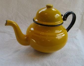 Sunny Yellow Enamel Teapot, Made in Poland