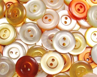 "The Warmer Color Mix: 3/4"" (19mm) Button Assortment - Set of 50 New / Unused Matching Style Buttons"