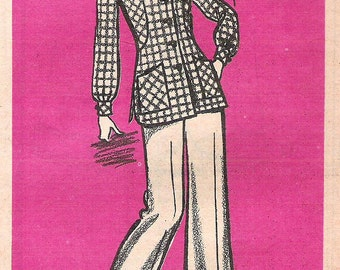 1970s Misses Jacket and Pants Vintage Uncut Mail Order Printed Pattern 9325  Misses Size 16