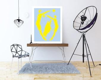 Home decor wall art, PRINTABLE, blue and yellow, colorful art, abstract art, swimmers, wall decor, blue bedroom decor, nursery wall art, art