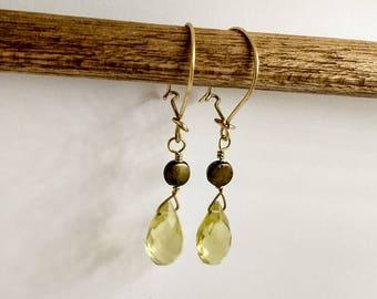 Lemon Quartz Faceted Drop Earrings
