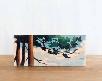 Paint by Number Art Block 'Branching Out' - vintage, trees, landscape, sky
