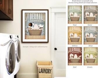 ST bernard saint bernard dog laundry basket company laundry room artwork signed UNFRAMED print by stephen fowler geministudio