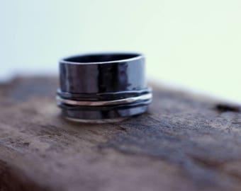 Sterling Silver Wide Band Spinner Ring - Fiddle Ring - Rustic Ring